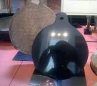 An Aztec black obsidian mirror in the British Museum