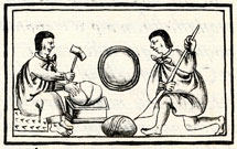 Aztecs quarrying 'mirror stones' - from the Florentine Codex