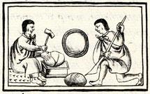 Aztecs quarrying 'mirror stones' - from the Florentine Codex