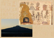 Pic 3: Sacred mountains: 'Matlalcueyetl' mountain, seen from Tlaxcala (bottom left); Culhuacan mountain (with Huitzilopochtli inside a cave), Codex Azcatitlan fol. 3a (top right)