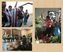 Pic 5: 'Tlamatque' in action: with village officials blessing a house (top left); incensing an altar (bottom left); praying for/'cleaning' a dancer before a ceremony (right)