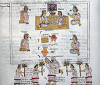 Pic 6: Respect for elders: a wedding scene in the Codex Mendoza (fol. 61r). Only the elders, the grandparents speak, giving advice to the bride and groom. They are respected for their age, wisdom and experience