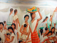Aztec girls and women; part of a mural in Mexico City's National Museum of Anthropology