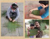 Children creating reed mats