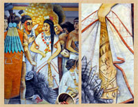 Pic 5: Detail from mural depicting an Aztec market scene, National Museum of Anthropology, Mexico City