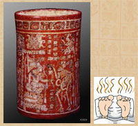Pic 2: (left) polychrome Maya vase K3924; (right) modern graphic depicting smelly feet