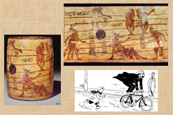 Pic 3: Ballgame scene on a Maya vase K5435; (bottom right) speed depicted by Hergé in 1930 in the Quick & Flupke series - Acroabaties page 02