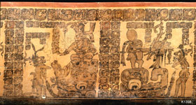 Pic 6: By combining text and image the famous Maya 'Regal Bunny Pot' (K1398) narrates two sequences from a popular Maya myth