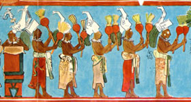 Pic 7: Gourd-rattle players lead a (9-piece) Maya band - detail from the Bonampak murals, Room 1 (painting by Antonio Tejeda)