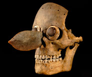 Pic 12: Skull mask appliquéd with shell and pyrite in the eyes and a flint knife in the nasal cavity; the mask represents Mictlantecuhtli, god of the underworld