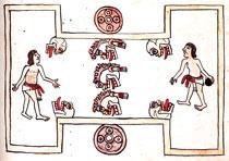 Fig 14: Cancha del juego de pelota donde se observan cráneos humanos que portan cabello, aplicaciones en los ojos y orejeras. Folio 80r, Códice Magliabechiano