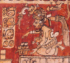 Pic 2: The aged god Itzamná with a bowl of maize tamales - detail from a Late Classic Maya vase