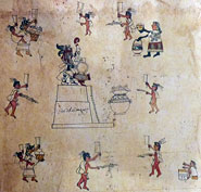 Pic 8: Codex Borbonicus, Quecholli scene: detail of pulque festival, page 33