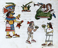 "Pic 9: Annual Aztec ceremony of Hueypachtli, ""Pilahuana"" ceremony, Codex Magliabechiano, folio 41r"