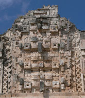 Pic 2: Limestone carvings on the northern palace at Uxmal, Yucatan