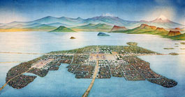 "Pic 3: 'La gran Tenochtitlan en 1519"", painting by Luis Covarrubias, National Museum of Anthropology, Mexico City"