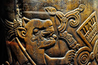 Pic 7: The 'all-tlachinolli' war symbol carved on the Malinalco 'huehuetl' drum