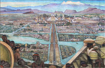 """Pic 10: """"La gran ciudad de Tenochtitlan""""; mural by Diego Rivera, Palacio Nacional, Mexico City (detail)"""