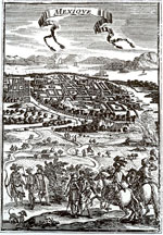 Pic 11: European view of Mexico City in 1683; lithograph by A. Messon Mallet edited by Thierry, Paris