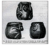 Pic 7: The drawings of the monkey effigy vessel in an 1885 article by Eugene Boban in the journal 'Revue d'ethnographie'
