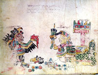 Pic 9: The 16th-century Codex Egerton, fol. 25 - a unique Mixtec genealogical document in that each of the major (ruling) couples occupies a full page