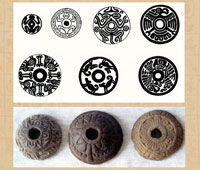 Pic 2: Aztec spindle whorl designs - illustrations by Miguel Covarrubias (top); ceramic spindle whorls with sun and flower motifs from Xaltocan, Mexico (bottom)