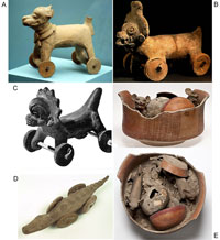 Pic 3: Wheeled whistles and figurines manufactured in the 8th century A.D. (see below for further details)