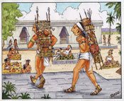 Pic 12: Artist's impression of two Maya load carriers using a tumpline to deliver goods to a local market