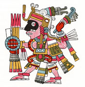 Pic 2: The god Mixcoatl bearing shield and arrows; illustration by Miguel Covarrubias, based on Codex Borgia pl. 25