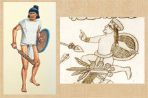 Pic 3: Artist's impression (L) of a Mexica warrior, showing straps on the shield's 'inside'; detail (R) from the Lienzo de Tlaxcala showing an indigenous warrior appearing to use the entire arm to hold his shield