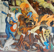 Pic 5: Mesoamerican warfare - part of a mural by Diego Rivera, National Palace, Mexico City