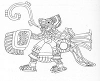 Pic 6: Representation of a Teotihuacano jaguar warrior, bearing a characteristic rectangular feathered shield. Detail from a mural from the gate of Zacuala, Teotihuacan