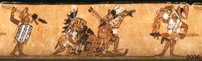 Pic 7: Maya warriors fighting; note the rectangular and flexible shields. Polychrome ceramic vase (K2036)