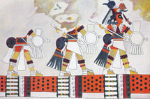 Pic 9: Illustration of a mural painting from Malinalco (no longer existing), depicting a group of deified warriors in Toltec style. They carry a dart and shield decorated with feathers and banner