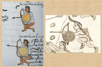 Pic 13: Battlefield use: shield with bow-and-arrow; examples from the Codex Mendoza (L) and Lienzo de Tlaxcala (R)