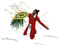 Pic 14: Artist's impression of the chimalli in use defending a Mexica warrior on the battlefield; note how a good number of arrows have become embedded in the shield