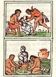 Pic 6: Preparing corpses for burial and cremation. Florentine Codex Book 3