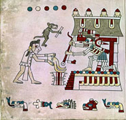Pic 7: A dog accompanies his master, both carrying gifts of paper scrolls, to greet the Lord of the Underworld, Mictlantecuhtli; Codex Laud fol. 26