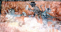 Pic 15: Surrounded by flames, demons gleefully torture sinners in this mural from another open air chapel in Hidalgo, Santa María Xoxoteco. Such images would have provided a nightmarish backdrop to the sermons preached by the friars