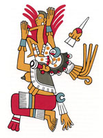 Pic 16: Mictlancíhuatl (Lady of Mictlan) receiving a soul. Illustration by Miguel Covarrubias, based on the Codex Fejervary-Mayer pl. 28