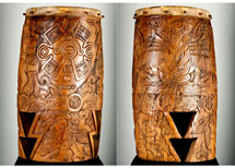 Pic 2: Fine carving of sacred and war symbols in the famous vertical war drum from Malinalco