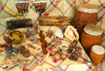 Pic 4: A collection of copies of Aztec instruments: all wind and percussion!