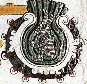 Pic 3: The rabbit in the moon, which is a vessel full of liquid; Codex Borgia pl. 10
