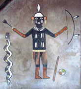 Pic 6: Desert Watchtower: Pukonghoya, one of the War Twins; painting by Fred Kabotie