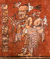 Pic 2: The Maya death god as a hunter, from a ceramic Maya vase