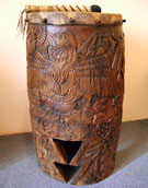 Pic 6: Aztec war drums were adorned with warrior iconography; replica 'tlalpanhuehuetl' from Malinalco