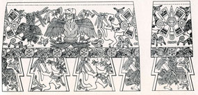 Pic 8: In this roll-out drawing of the carvings on the famous Mexica war drum from Malinalco eagle and jaguar (warriors) weep as they dance, celebrating an eagle warrior spirit ascending to the Sun
