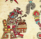 Pic 9: The huehuetl drum played by Macuilxochitl in the Codex Borbonicus