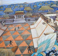 Pic 2: The ancient Mesoamerican ballgame, depicted in part of a mural by artist Diego Rivera (picture source unknown)