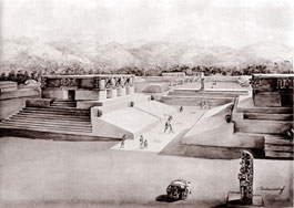 Illustration of the ball court at Copán, Honduras, by Tatiana Proskouriakoff